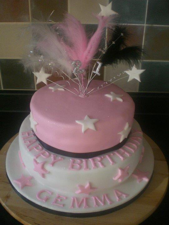 Pink And White 2 Tiered Birthday Cake Birthday Cake Cake Decorating Cake