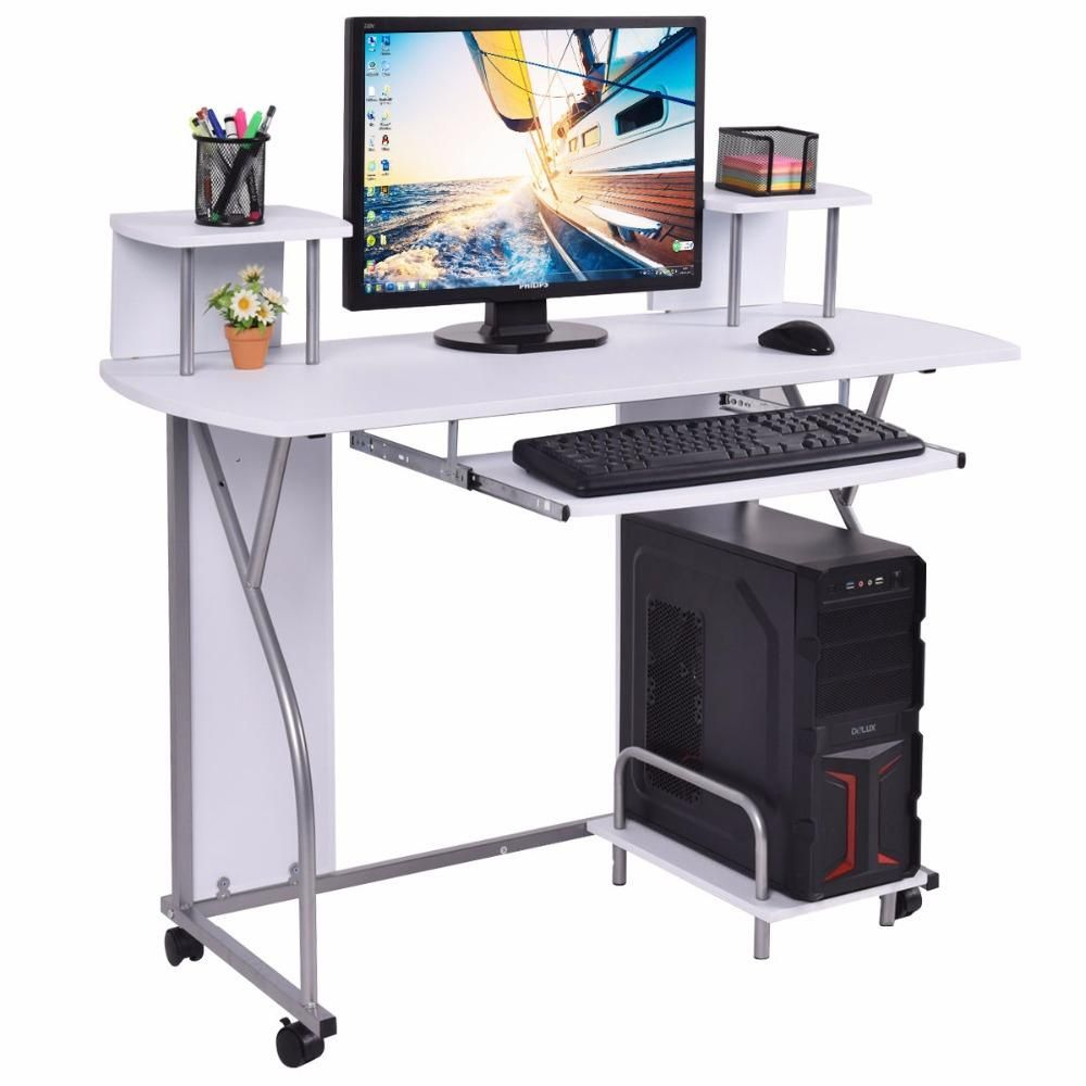 Goplus Rolling Computer Desk Pc Laptop Desk Pull Out Tray