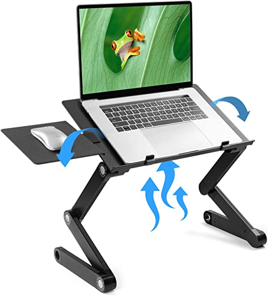 Amazon Com Loryergo Adjustable Laptop Stand Laptop Table Stand With 2 Cpu Cooling Fans Portable Laptop De Portable Laptop Desk Lap Desk Laptop Desk For Bed