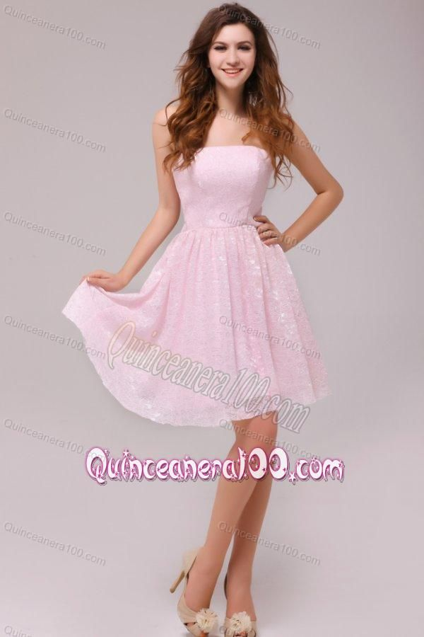 baby pink strapless kneelength empire dama dresses for