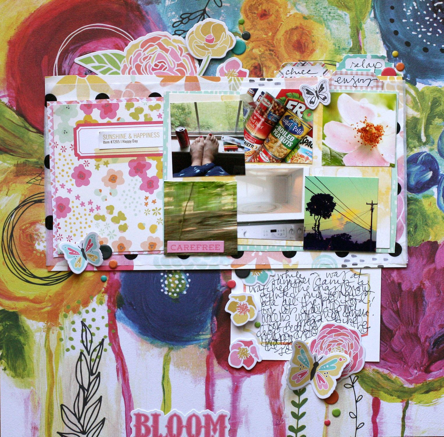 Bloom, by Doris Sander using the Firefly collection from www.cocoadaisy.com #cocoadaisy #scrapbooking #kitclub #layout #diecuts #tissue #paint #grid