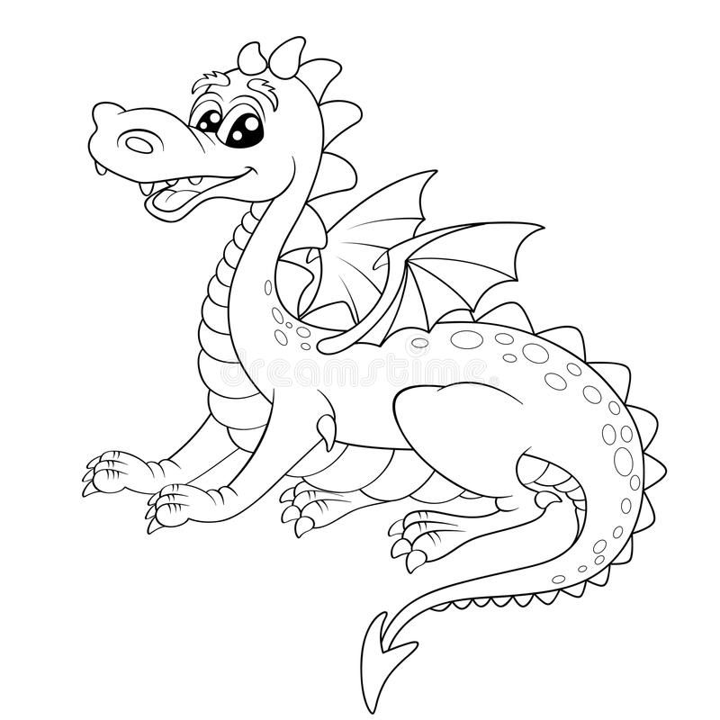 Cute Cartoon Dragon Black And White Vector Illustration For Coloring Book Sponsored Dragon Blac Dragon Illustration Cartoon Dragon Dragon Coloring Page