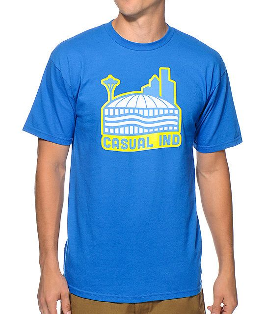 Brighten your look with iconic style with a yellow, blue, and white Kingdome and text chest graphic.