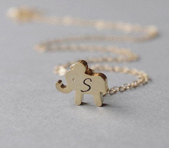 Gold Elephant Necklace Little Girl Necklace Elephant Initial