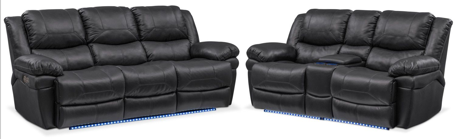 Monza Dual Power Reclining Sofa And Reclining Loveseat Set   Black
