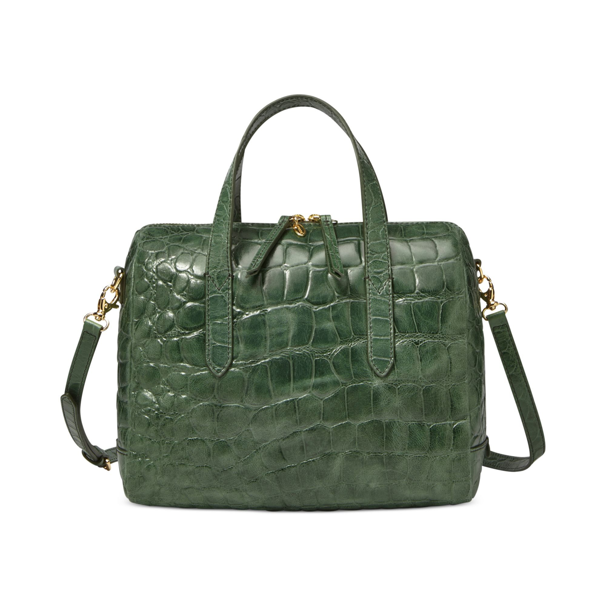 895cff408a8b Fossil leather Sydney Satchel in embossed green crocodile. It has a perfect  vintage bowling bag shape.