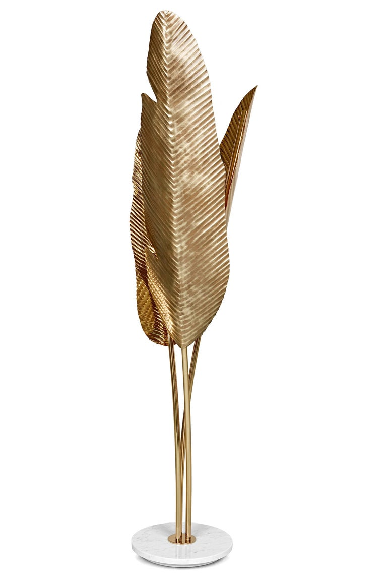 Leaves Floor Lamp Contemporary Handmade Brass Floor Lamp With