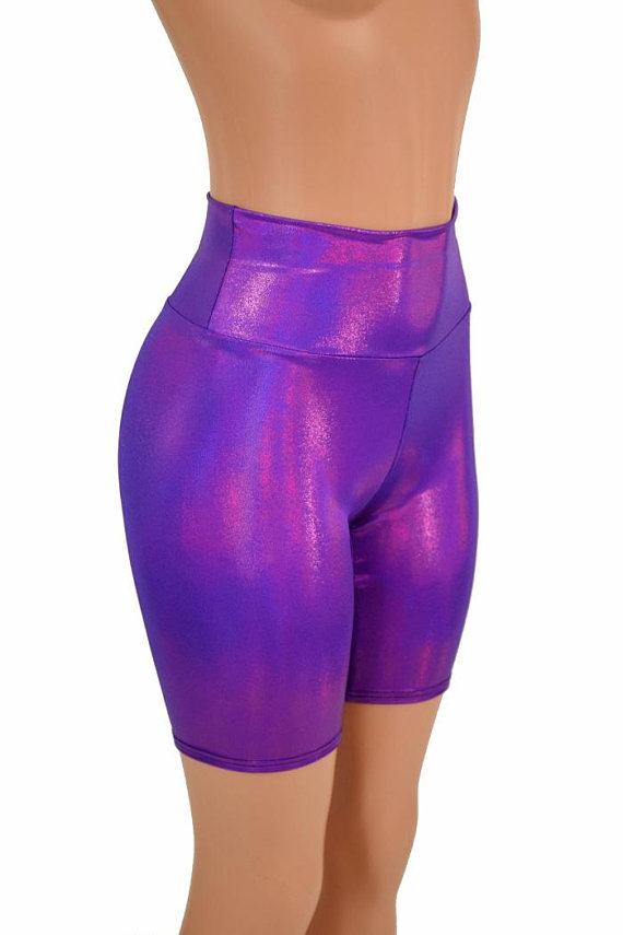 6e0729e8de017 High Waist Grape Purple Bike Shorts Rave Clubwear Metallic Holographic -  155441