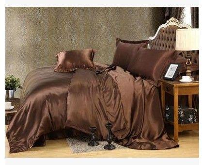 Luxury Silk Bedding Set Brown Satin California King Size Queen