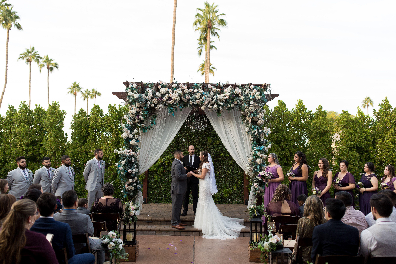 Country courtyard ceremony Arizona Wedding Photographers