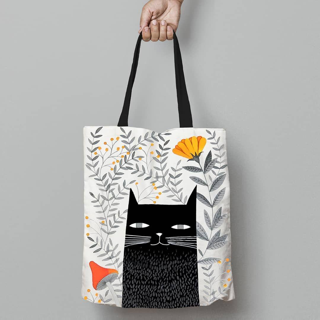Tote Bag Bag Cat Kitten Black Cat Illustration Watercolor
