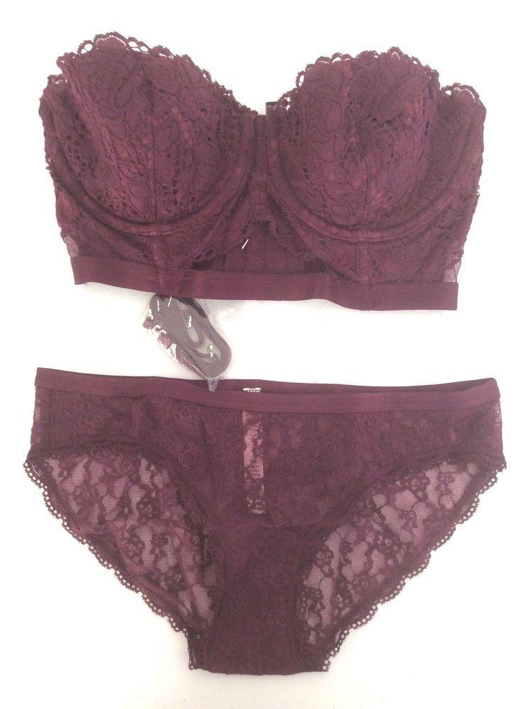 f0efedefb35e NWT Victoria's Secret Dream Angels Demi Long Line Lace Bra Panty Set WINE  32D/S #VictoriasSecret #Demis