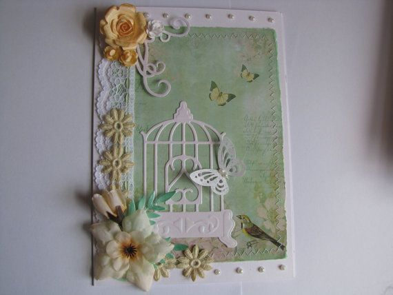 Beautiful Handmade Shabby/Vintage Chic Card by MandimoosCrafts, £3.00