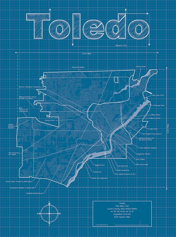 Toledo map original artwork toledo blueprint wall art city toledo map original artwork toledo blueprint wall art malvernweather Gallery