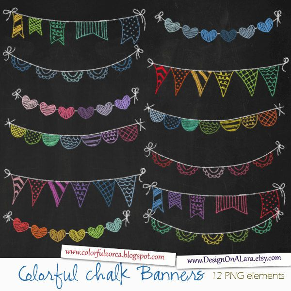Colorful Chalk Bunting Banners, Rainbow Chalk Banners Clip