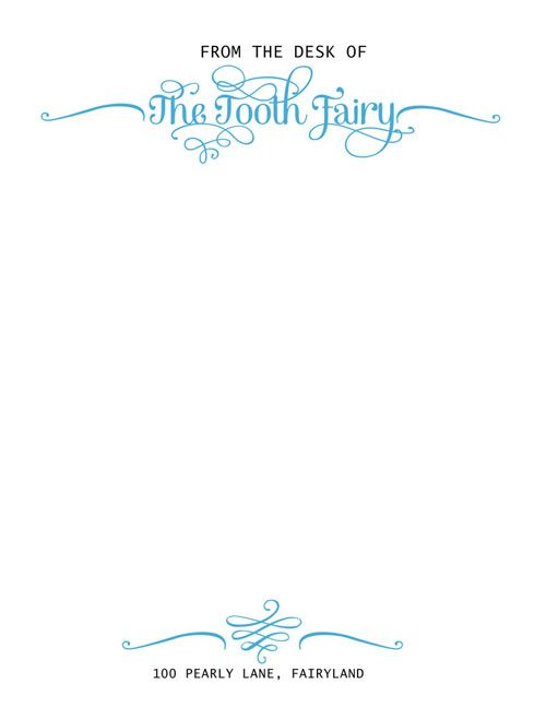 Tooth Fairy Official Letterhead - designed by Sassy Designs, Inc