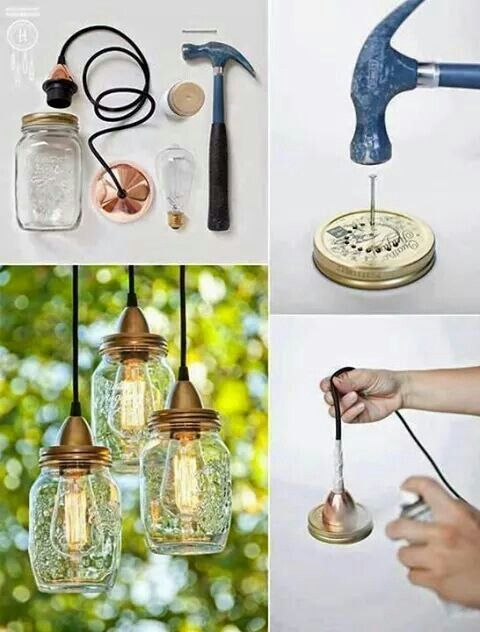 Lampade Con Barattoli Di Vetro Diy Projects Diy Diy Home Decor