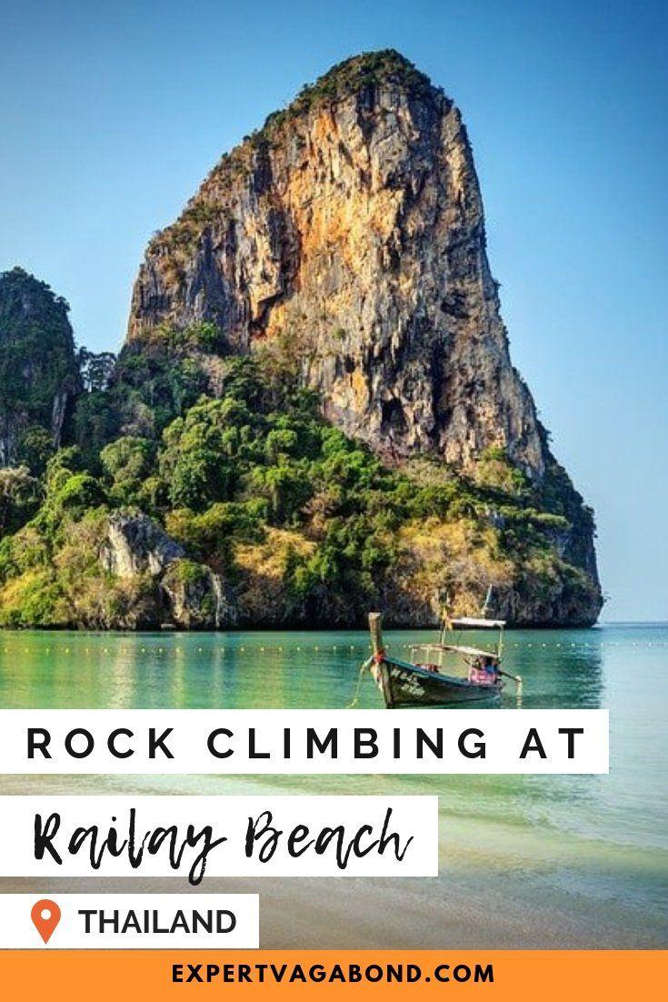 Rock Climbing Limestone Cliffs At Railay Beach