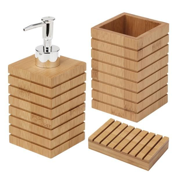 bamboo bathroom accessory kit