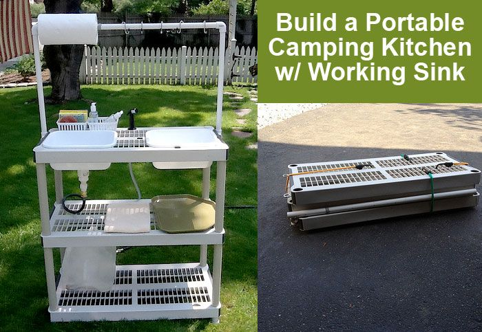 Build a Portable DIY Camping Kitchen with Working Sink ...
