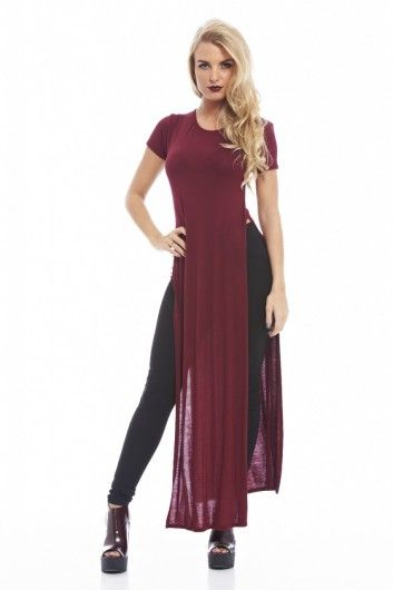 4b81f132e16 Long Plain Split Side T-Shirt dress | summer outfits | Fashion ...