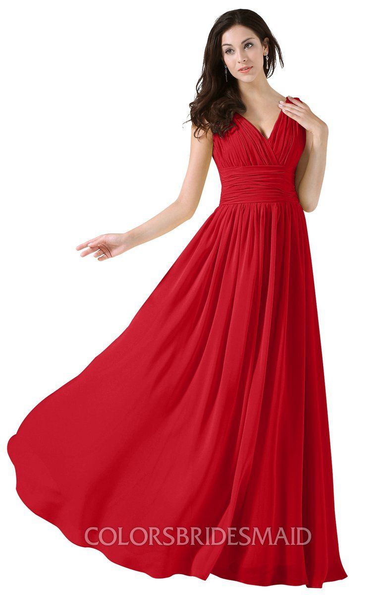 b6d00f4efcf7 Red colorsbridesmaid.com offers Elegant V-neck Sleeveless Zip up Floor  Length Ruching Bridesmaid
