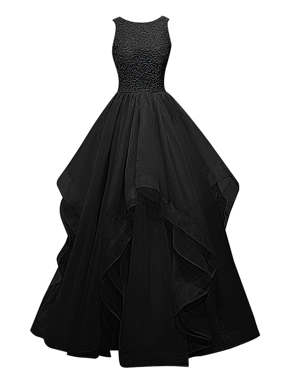 Dresstells® Dress Asymmetric Prom · Gown Long Bridesmaid Beaded Organza Largo Vestido ZqOKXCqE