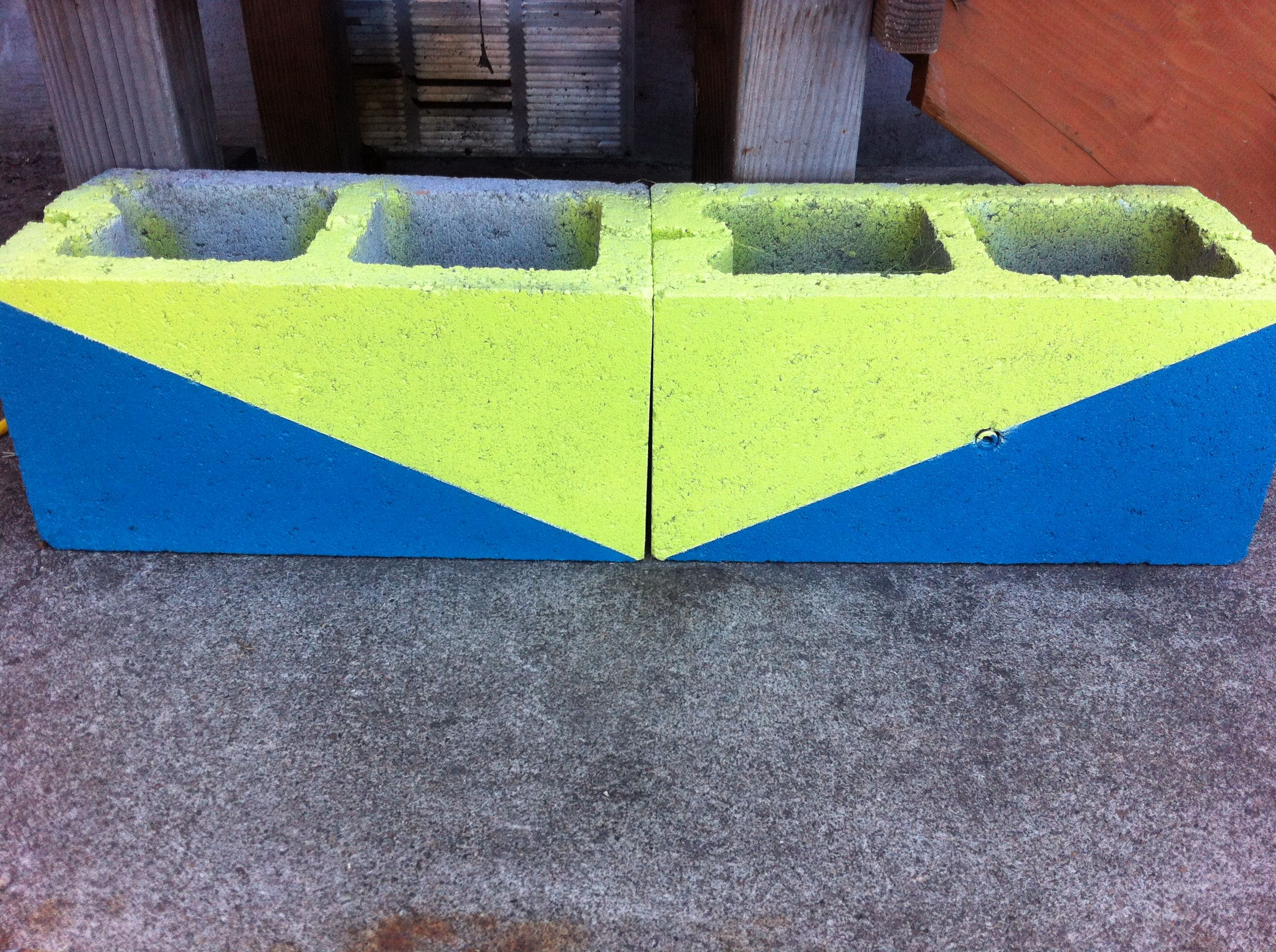 I Took Two Cinder Blocks And Touched Them Up For A Sweet Looking Planter I Just Taped Each Side Off And Spray Primer Spray Paint Pinterest Projects Color Pop