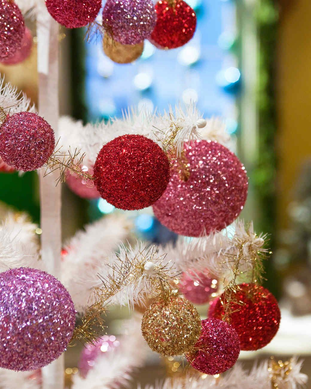 glitter ball garland christmas decor ideas martha stewart living add some sparkle to your holiday decorations with this simple to make glitter garland