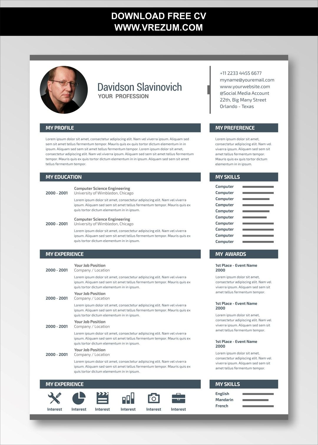 (EDITABLE) FREE CV Templates For Construction Worker in
