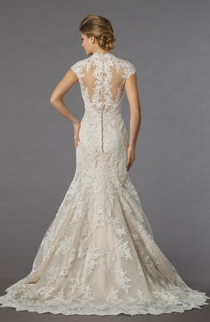 Bridal Gowns: Danielle Caprese Mermaid Wedding Dress with High Neck Neckline and Dropped Waist Waistline