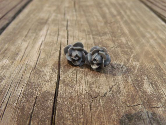 Rose Post Earrings  Grey by greythread on Etsy, $6.00