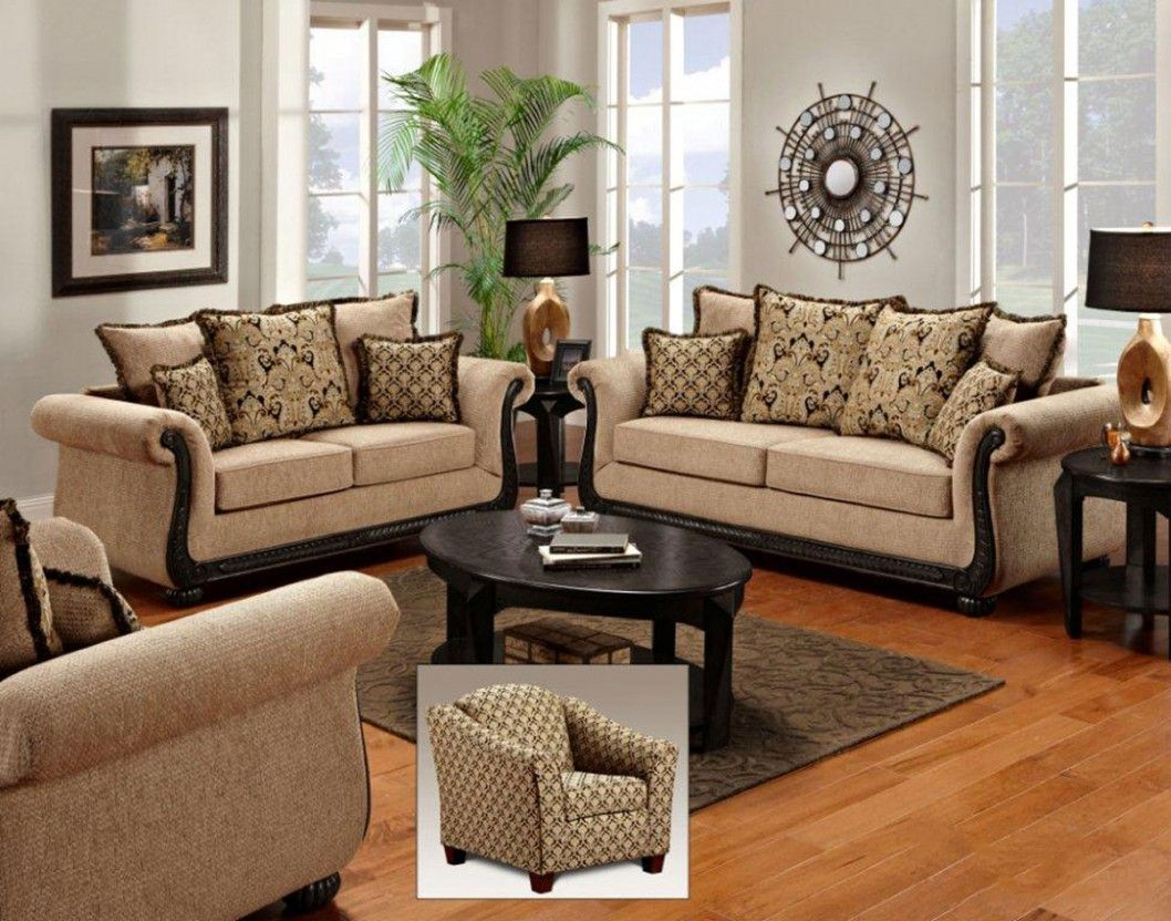 Splendid italian living room furniture sets with brown sofa and black wooden table on small brown