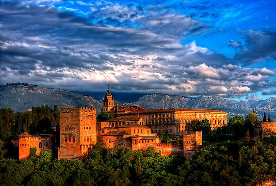 """The Alhambra (Arab - """"red castle"""") citadel built 1200 years ago in Granada, Andalusia, Southern Spain."""