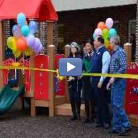 Ribbon Cutting Ceremony of Playtopia Play Structure at First