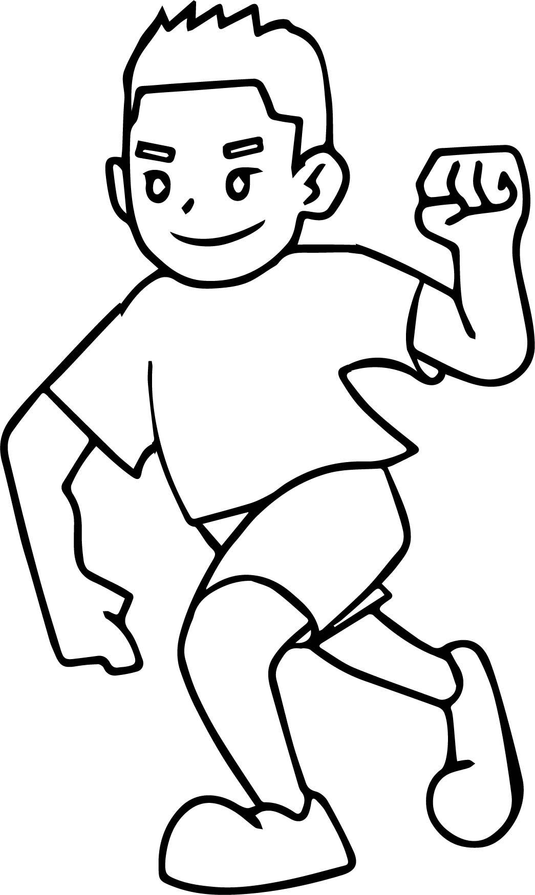 Awesome Running And Winner Boy Coloring Page