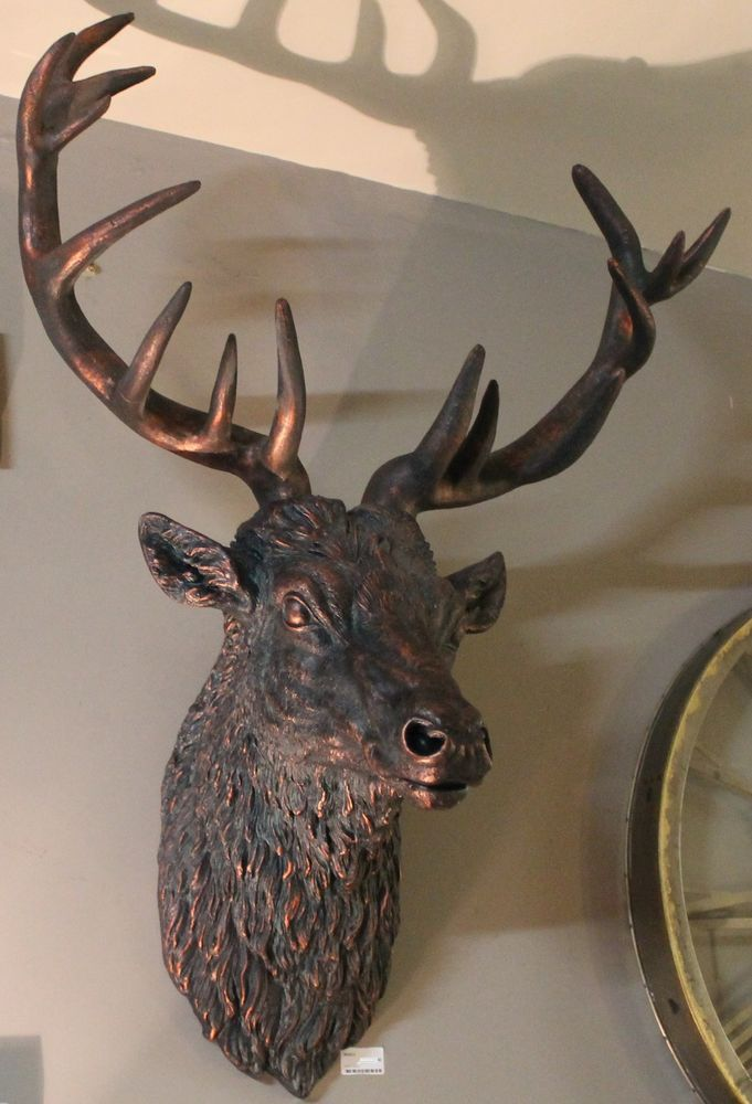 Large Wall Mounted Stags Head Antique Bronze Effect Stag Sculpture In Home Furniture Diy Decor Decorative Ornaments Figures Ebay