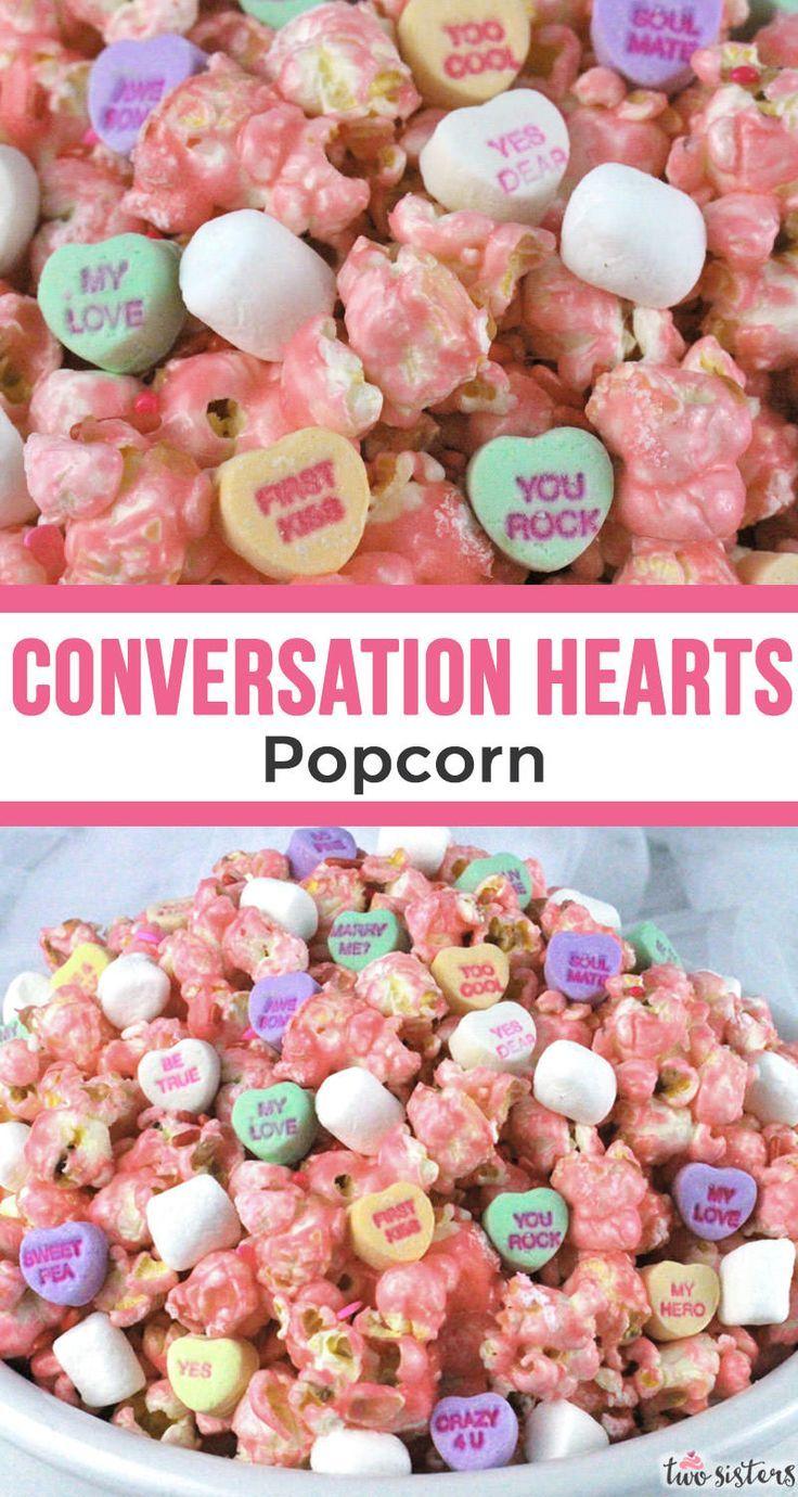 Conversation Hearts Popcorn Recipe Valentines day food
