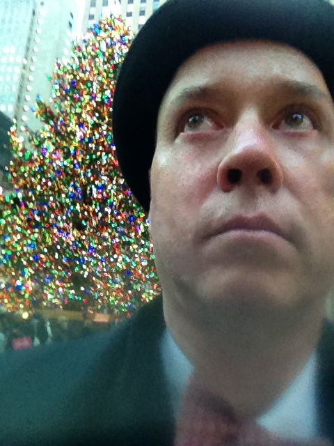 Famous Mystery Novelist, Richard Smiraldi, in front of Rockefeller Center Christmas Tree.