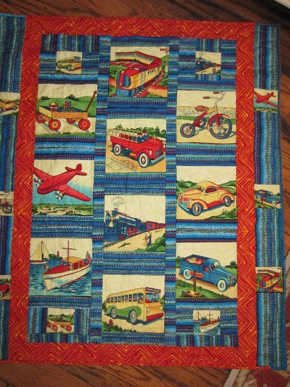TRANSPORTATION QUILT For BOYS Bright | Handmade Quilts | Pinterest ... : transportation quilt - Adamdwight.com