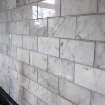 Carrara Marble Subway Tile Transitional Kitchen Freckles
