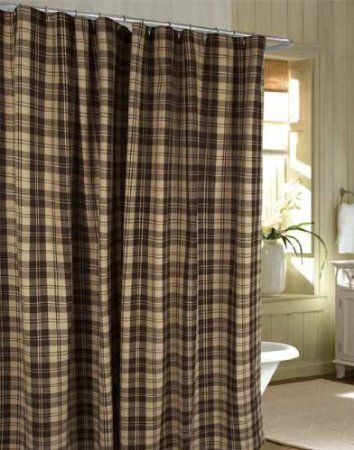 Shower Curtain Millville Check BrownNutmeg Primitive Country Rustic Fabric Bath