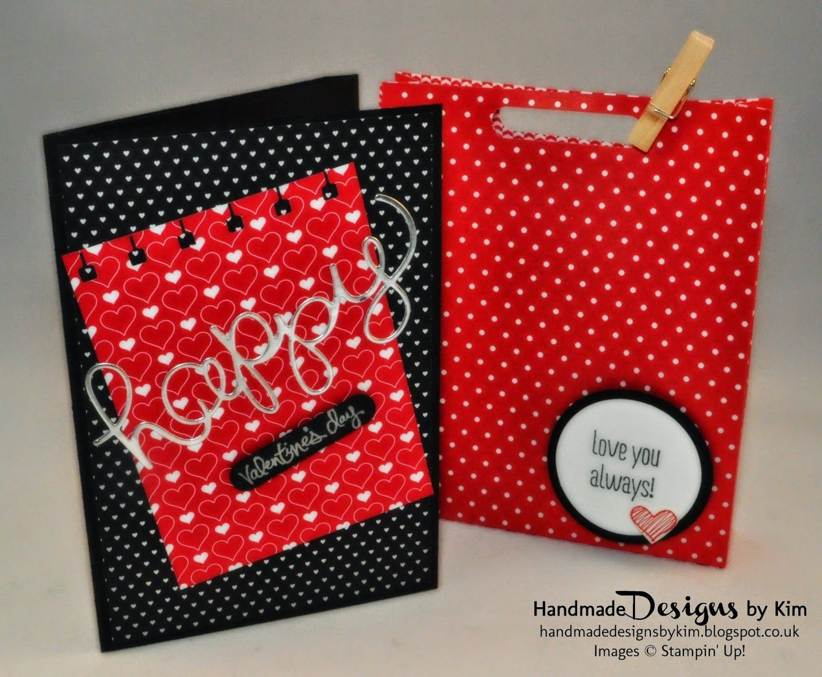 HANDMADE DESIGNS BY KIM Handmade Valentines Card using the Stacked with Love Designer Series Paper Stack, Hello You & Mini Treat Bag Thinlits Dies and other Stampin' Up! products. Handmade Valentines Gift Bag using Brights Designer Series Paper Stack and other Stampin' Up! products. Check out my blog for more details and step by step instructions on how to make the gift bag!