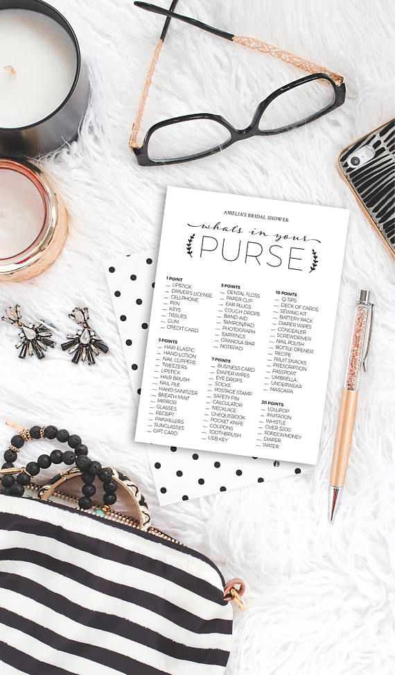 What's in Your Purse Bridal Shower Game - Printable Template