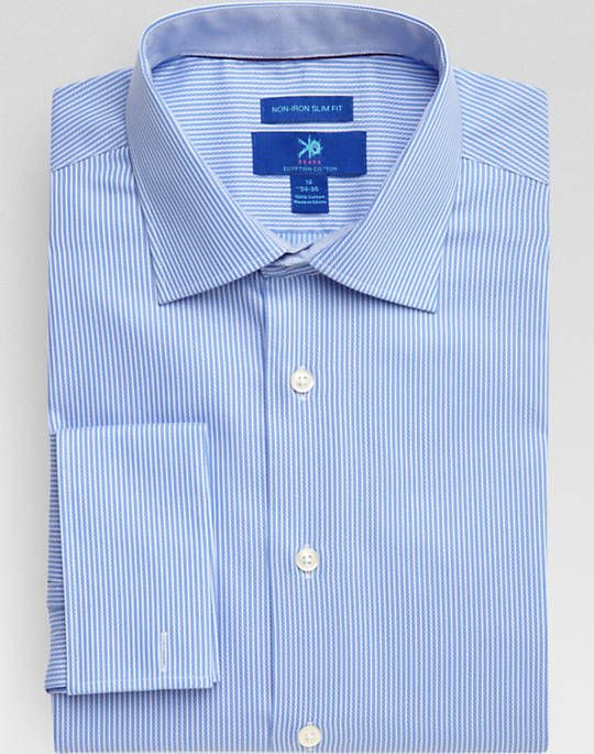 Egara blue and white stripe french cuff slim fit dress White french cuff shirt slim fit