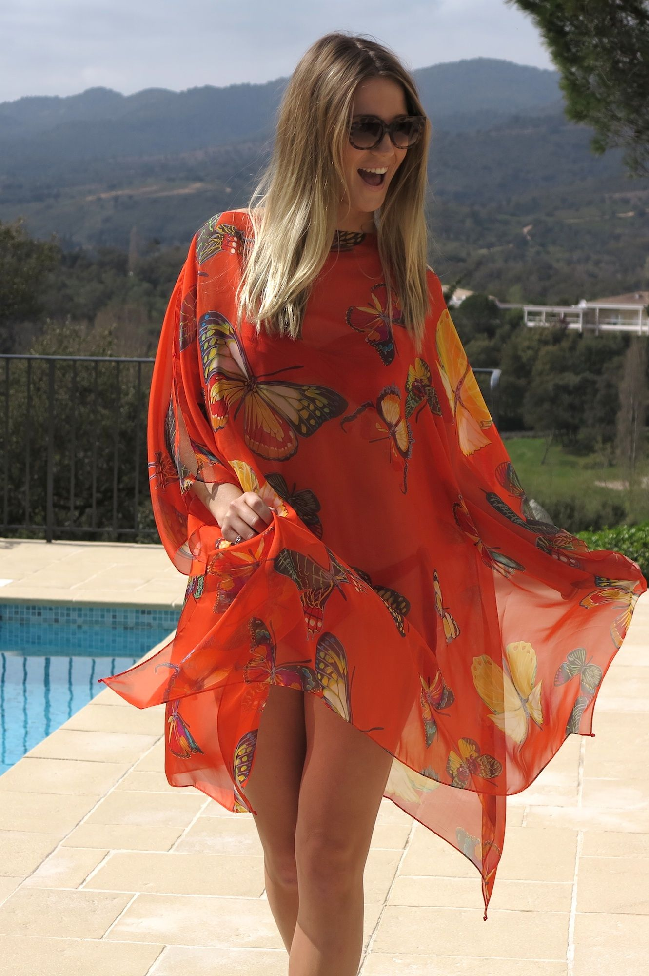 0ec2e19f44 Online Luxury Beachwear and Cover Ups | Orange Butterfly Print Catwalk Cover  Up
