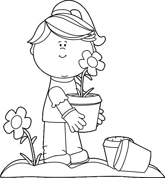Clip Art Black And White Black And White Girl Planting