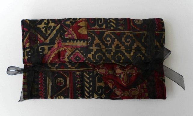 Quilted, Envelope Make Up Bag, Gold, Red, Black Abstract  Patterned Satin £8.00
