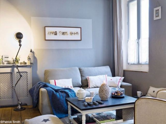 Petit salon deco gris bleu | peinture | Pinterest | Living rooms ...