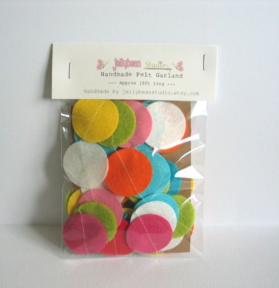 Fun and Bright  Felt Circle Garland   APPROX by jellybeanstudio, $22.50